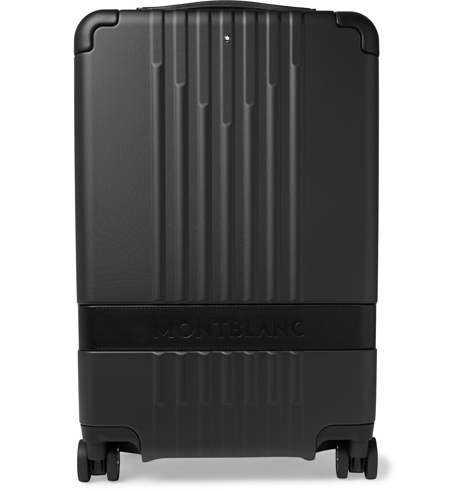 Photo: Montblanc - #MY4810 Cabin Compact 55cm Leather-Trimmed Polycarbonate Suitcase - Black