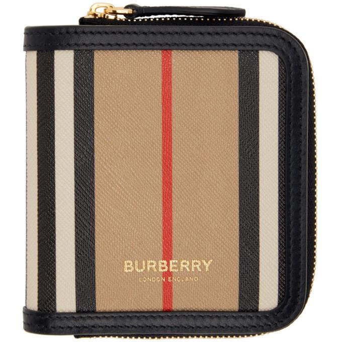 Photo: Burberry Beige E-Canvas Stripe Allington Wallet