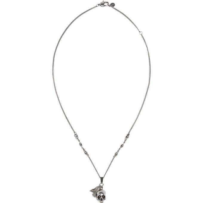 Photo: Alexander McQueen Silver Raven and Skull Necklace
