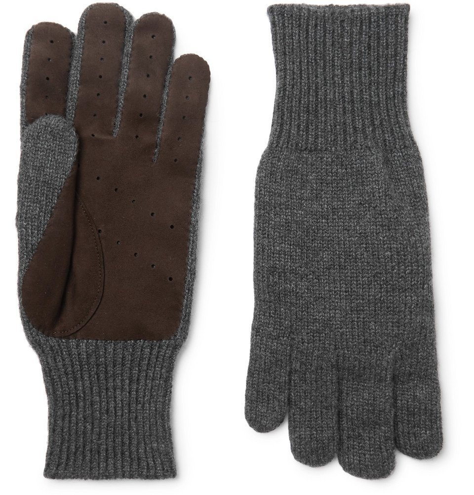 Photo: Brunello Cucinelli - Perforated Suede-Panelled Cashmere Gloves - Men - Gray
