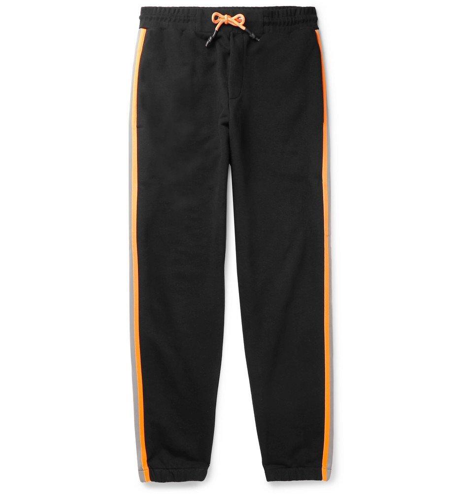 Photo: McQ Alexander McQueen - Contrast-Trimmed Loopback Cotton-Blend Jersey Sweatpants - Black
