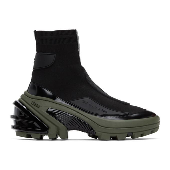 Photo: 1017 ALYX 9SM Black and Khaki High Knit Sneakers