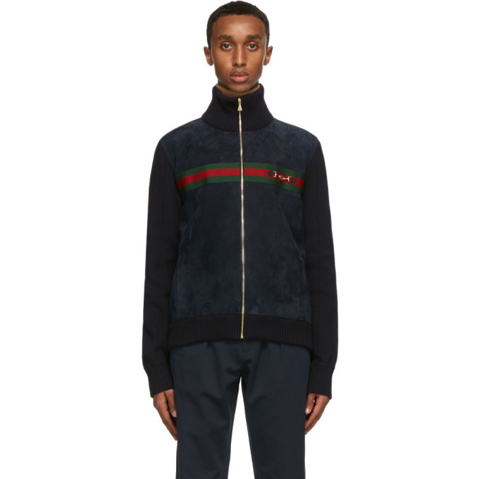 Photo: Gucci Navy Suede and Knit Bomber Jacket
