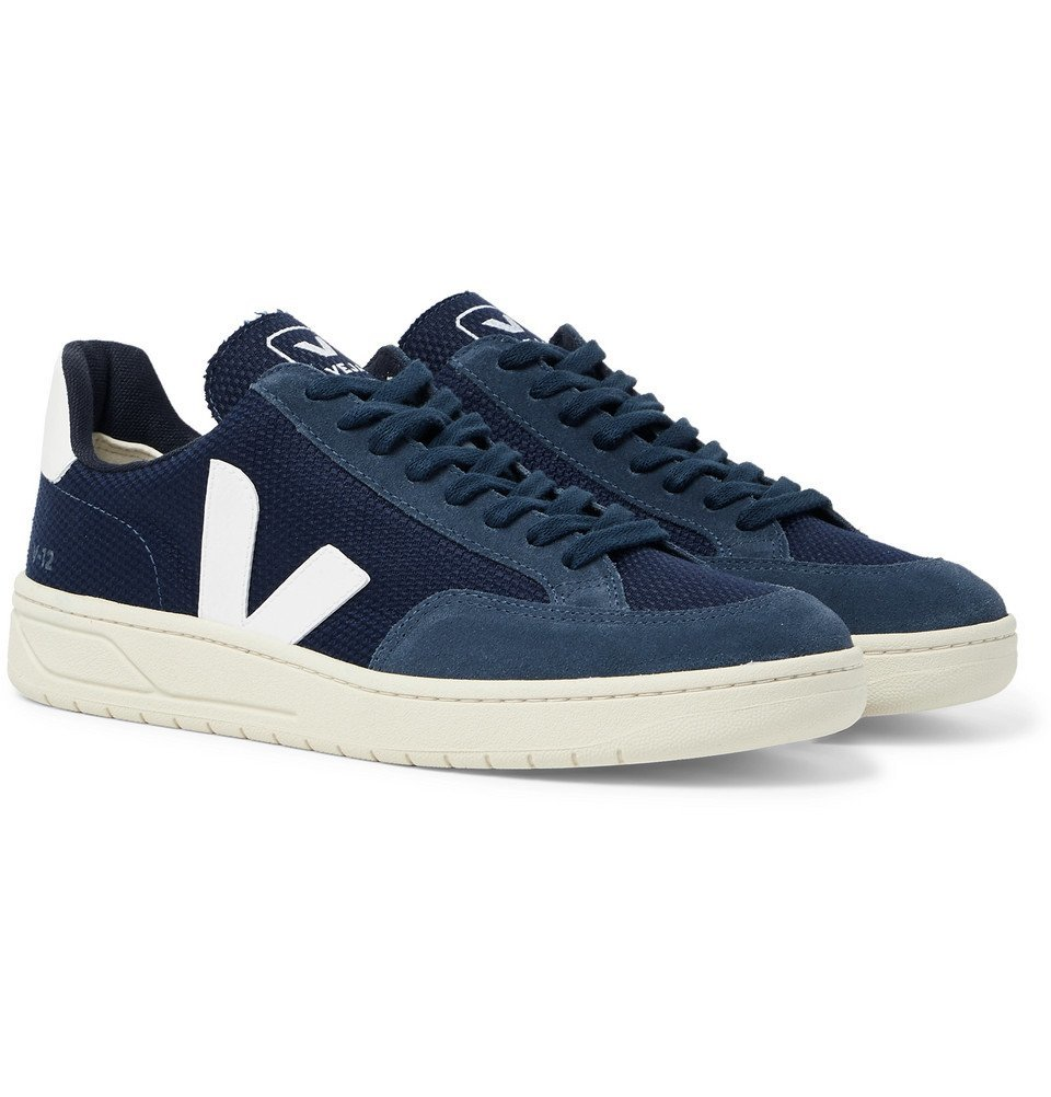 Photo: Veja - V-12 Leather and Rubber-Trimmed Suede and B-Mesh Sneakers - Navy