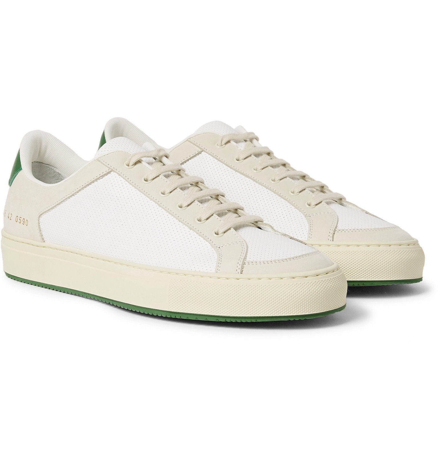 Common Projects - Retro '70s Perforated Leather and Nubuck Sneakers - White