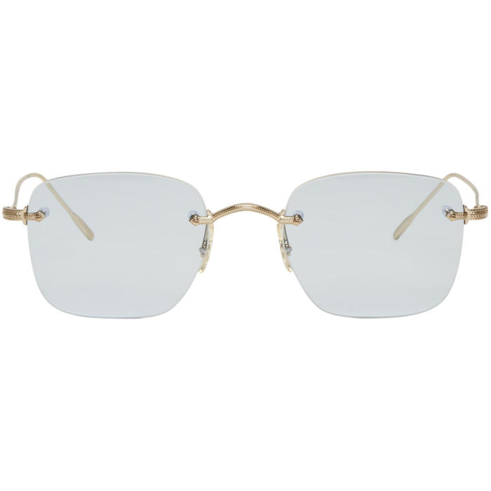 Oliver Peoples Gold and Blue Finne Sunglasses