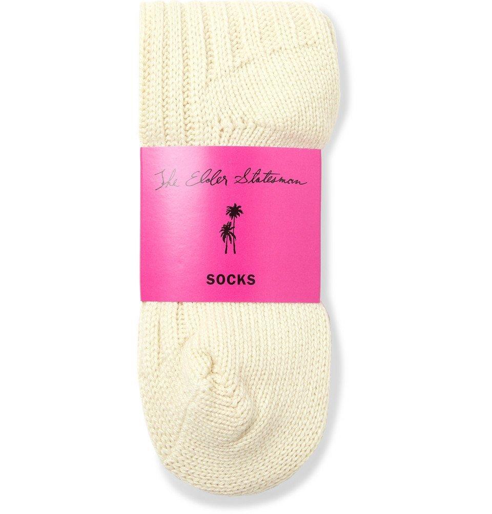 The Elder Statesman - Yosemite Ribbed Striped Cashmere Socks - Off-white