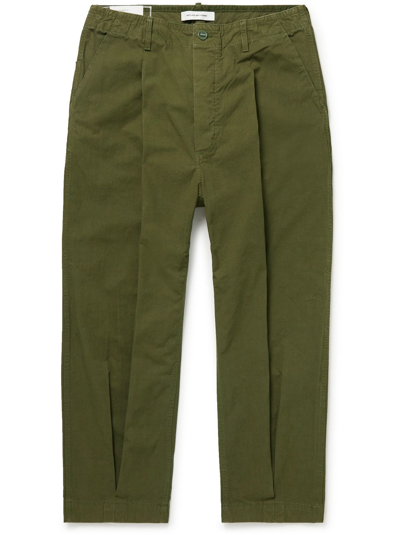 Photo: Applied Art Forms - DM1-1 Tapered Pleated Cotton and CORDURA-Blend Trousers - Green