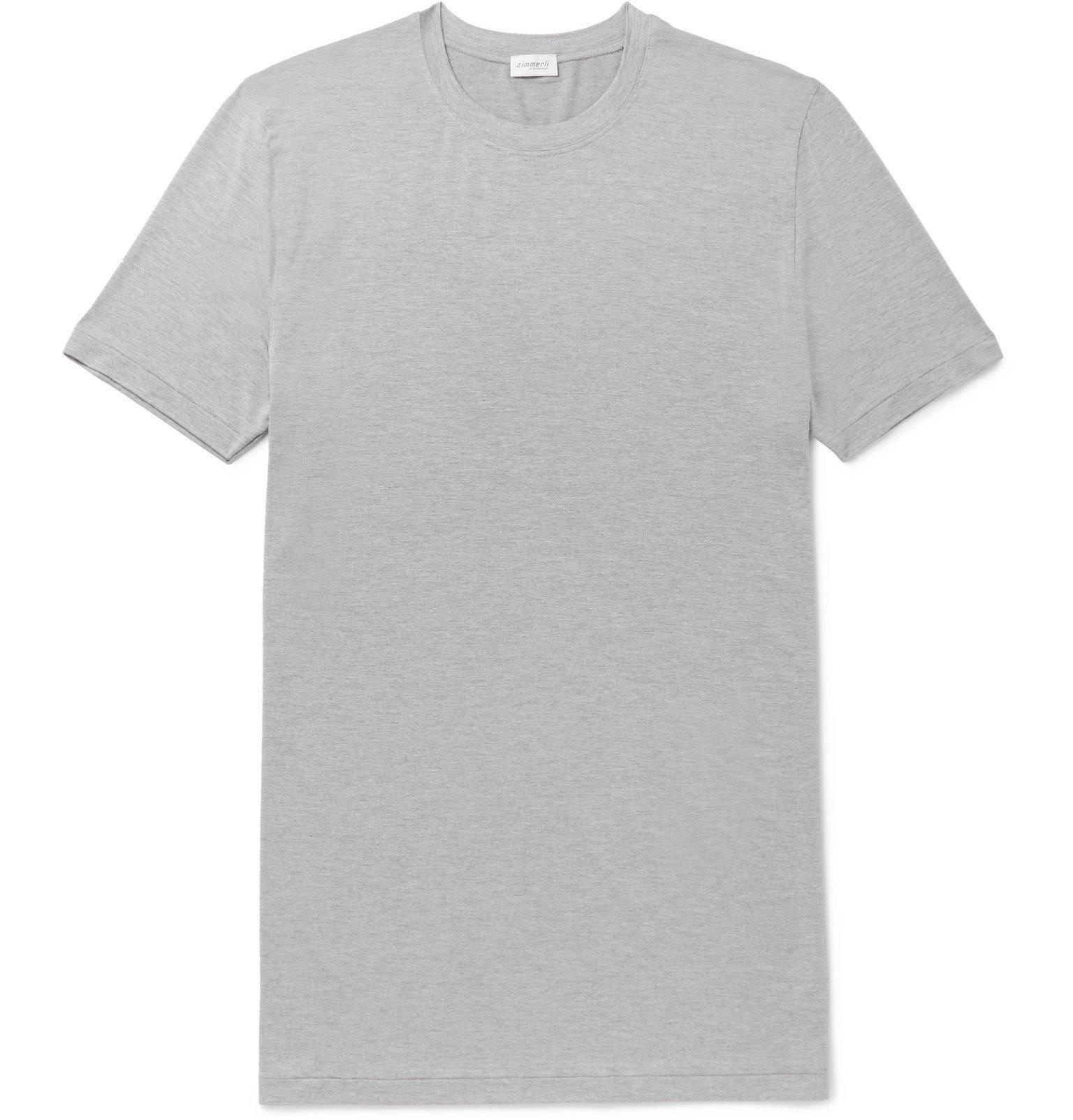 Photo: Zimmerli - Slim-Fit Mélange Stretch Modal-Blend Jersey T-Shirt - Gray