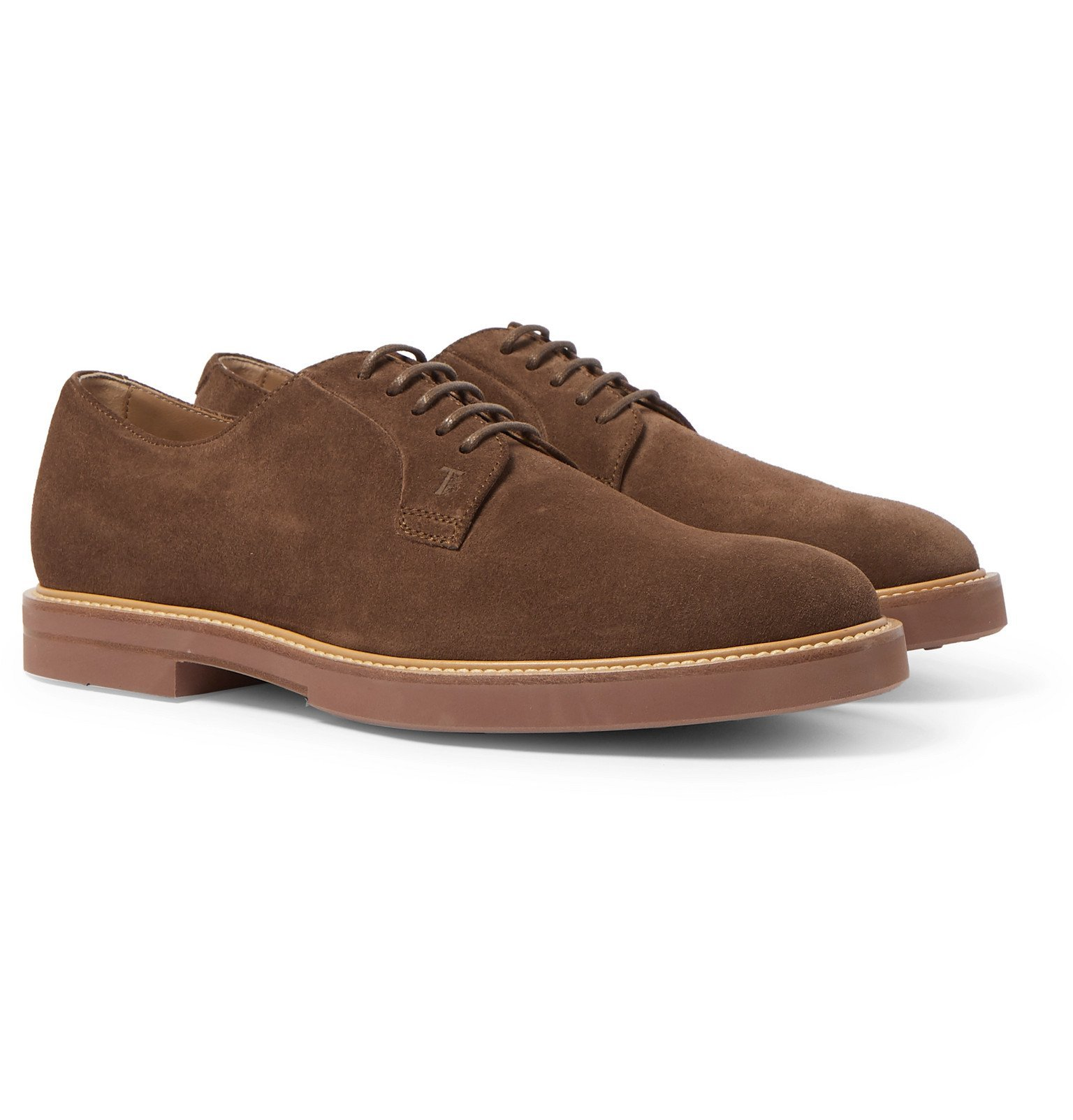 Tod's - Gommino Suede Derby Shoes - Brown