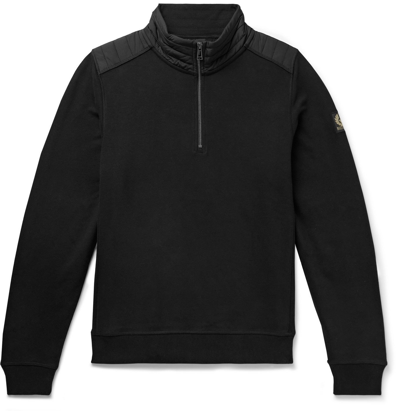 Photo: BELSTAFF - Jaxon Quilted Shell-Panelled Loopback Cotton-Jersey Half-Zip Sweatshirt - Black