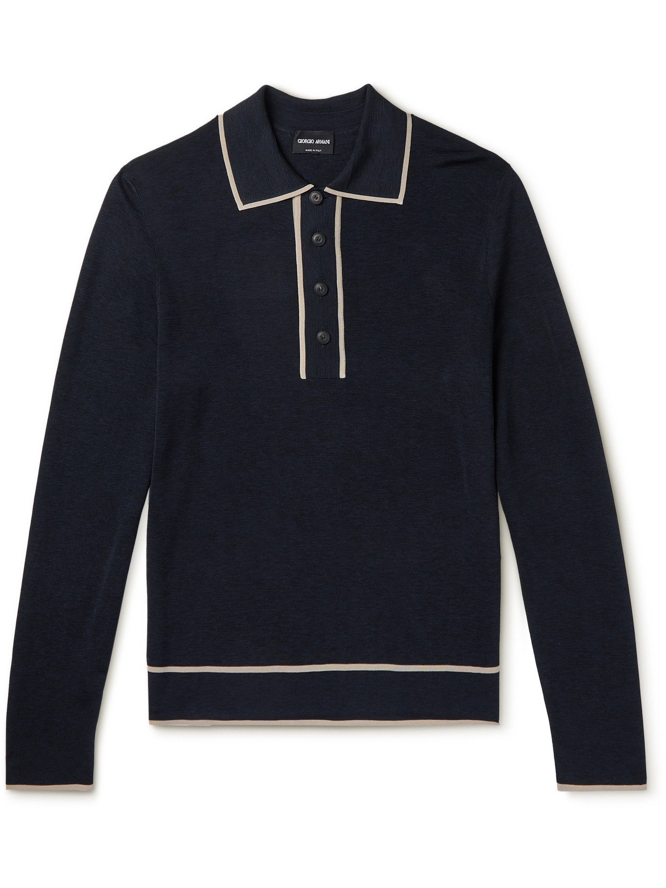GIORGIO ARMANI - Contrast-Tipped Knitted Polo Shirt - Blue - IT 50