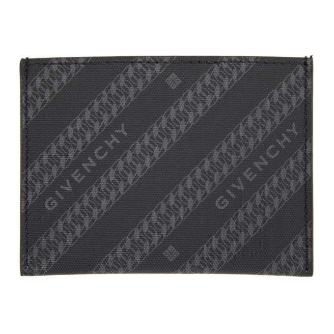 Photo: Givenchy Black and Grey Diagonal Logo Card Holder
