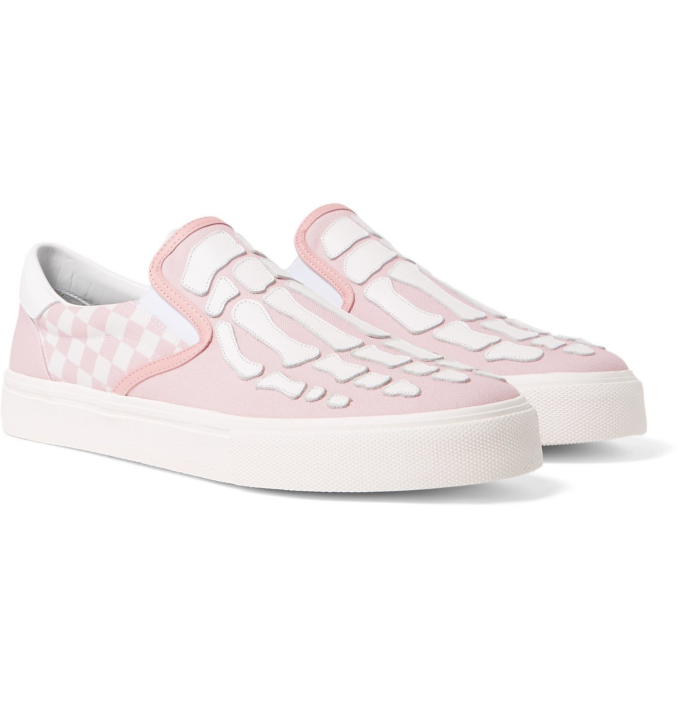 Photo: AMIRI - Skel Toe Leather-Appliquéd Checked Canvas Slip-On Sneakers - Pink