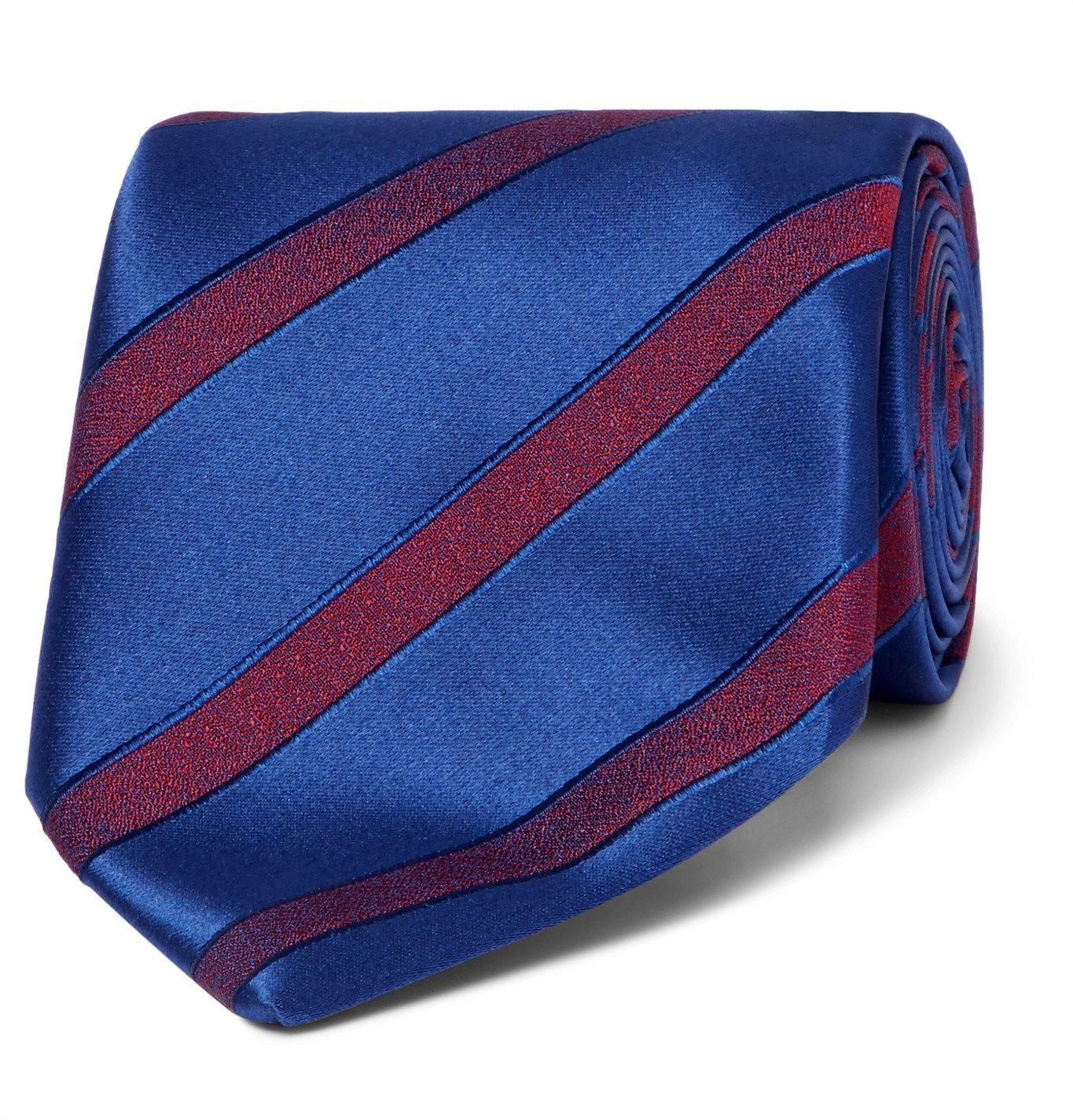 Photo: Charvet - 7.5cm Striped Wool and Silk-Blend Jacquard Tie - Blue