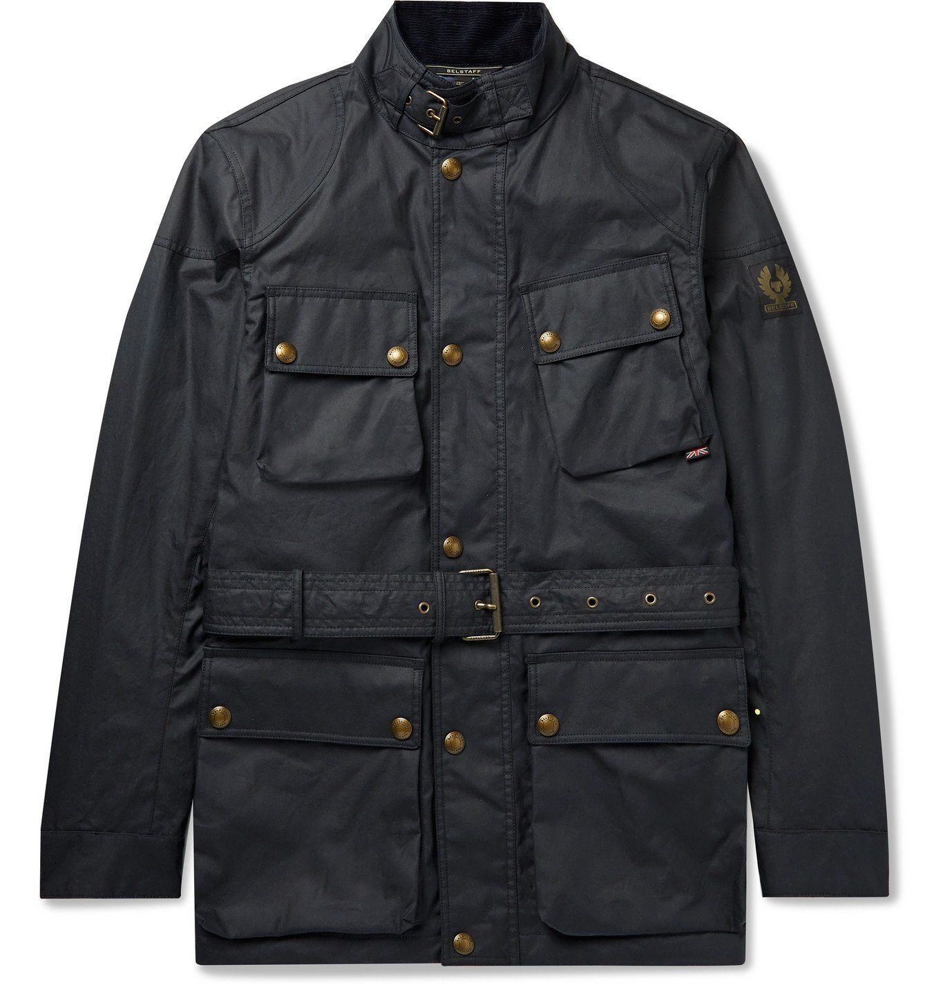 Photo: BELSTAFF - Trialmaster Logo-Appliquéd Belted Waxed-Cotton Jacket - Blue