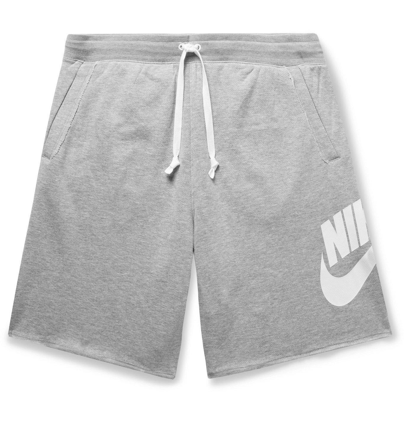 Photo: Nike - Sportswear Alumni Loopback Cotton-Blend Jersey Drawstring Shorts - Gray