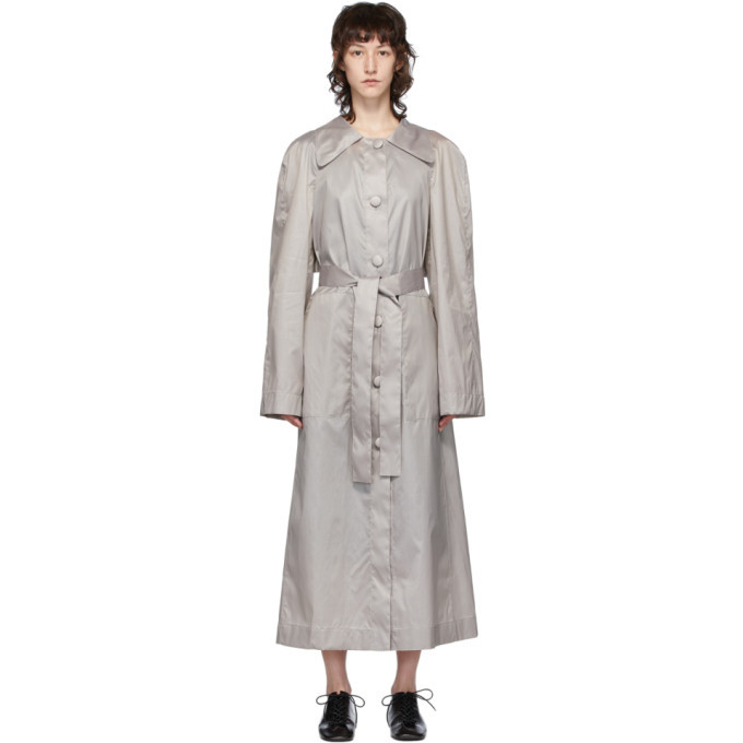 Photo: Lemaire Grey Silk Waxed Trench Coat
