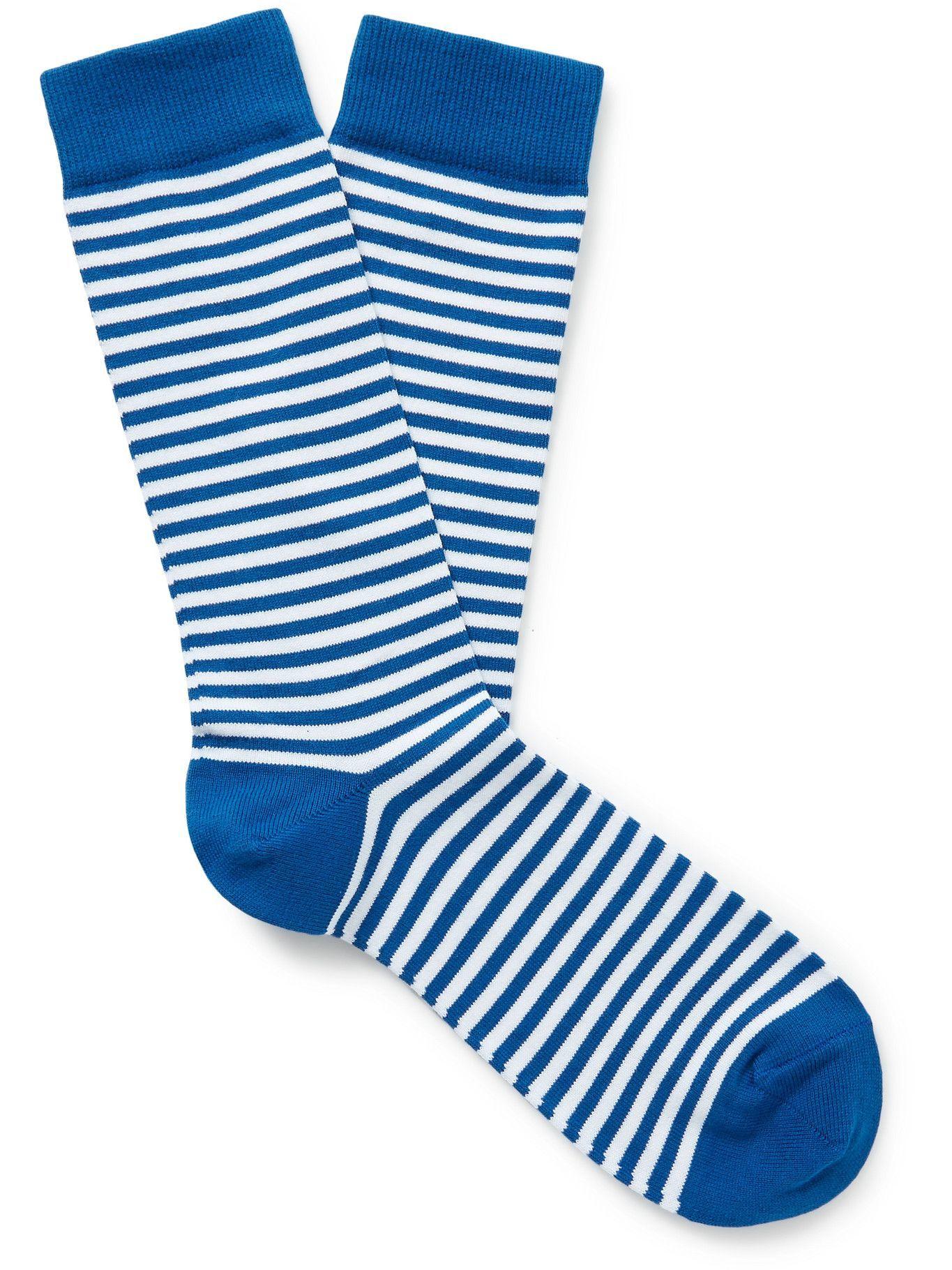 Photo: SUNSPEL - Striped Stretch Cotton-Blend Socks - Blue