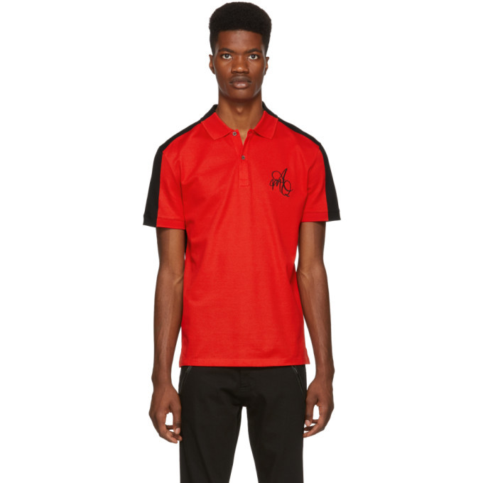 Photo: Alexander McQueen Red and Black Logo Polo