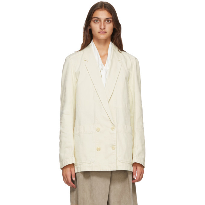 Photo: Lemaire Off-White Denim Double-Breasted Jacket
