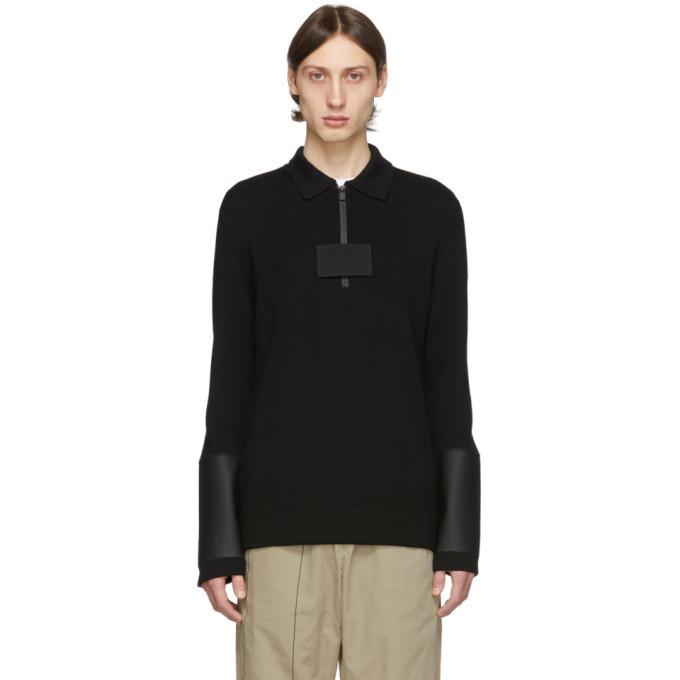 1017 ALYX 9SM Black Knit Zip-Up Long Sleeve Polo