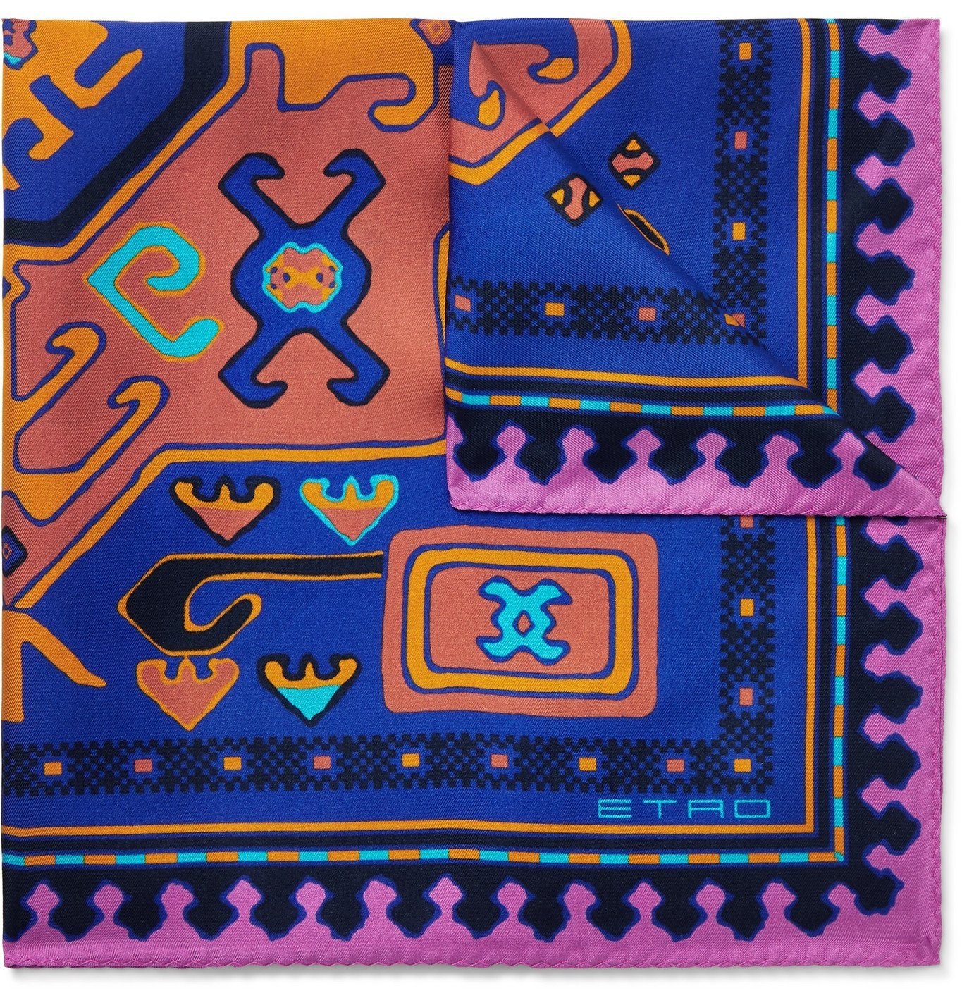 Photo: Etro - Printed Silk-Twill Pocket Square - Blue