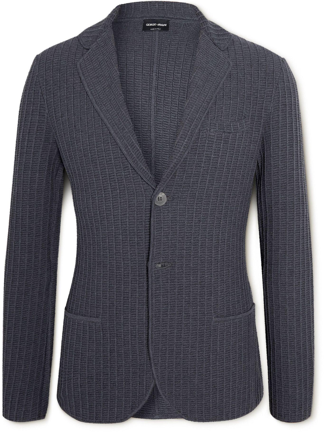 GIORGIO ARMANI - Ribbed Cotton and Wool-Blend Blazer - Blue