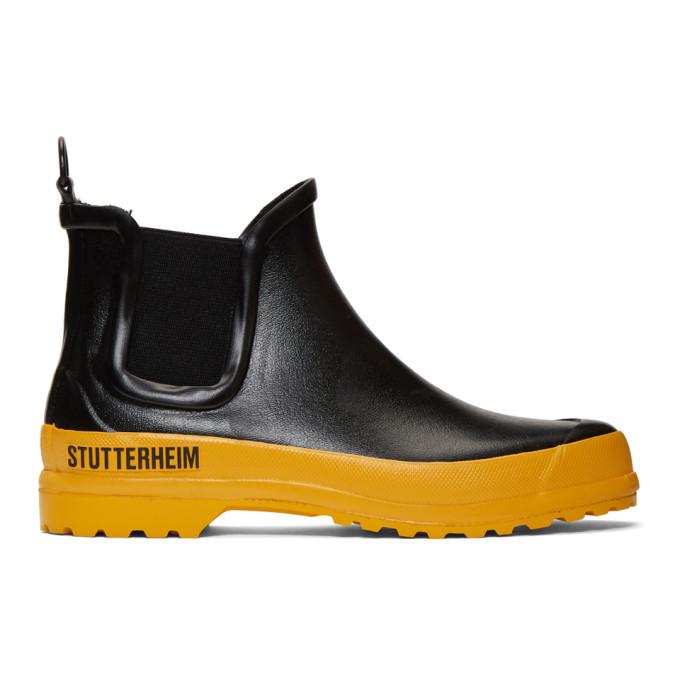 Photo: Stutterheim Black and Yellow Rainwalker Chelsea Boots