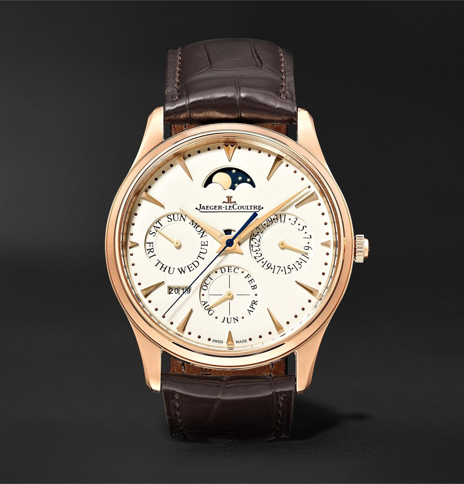 Photo: Jaeger-LeCoultre - Master Ultra Thin Perpetual Automatic 39mm Rose Gold and Alligator Watch, Ref. No. 1302520 - Neutrals