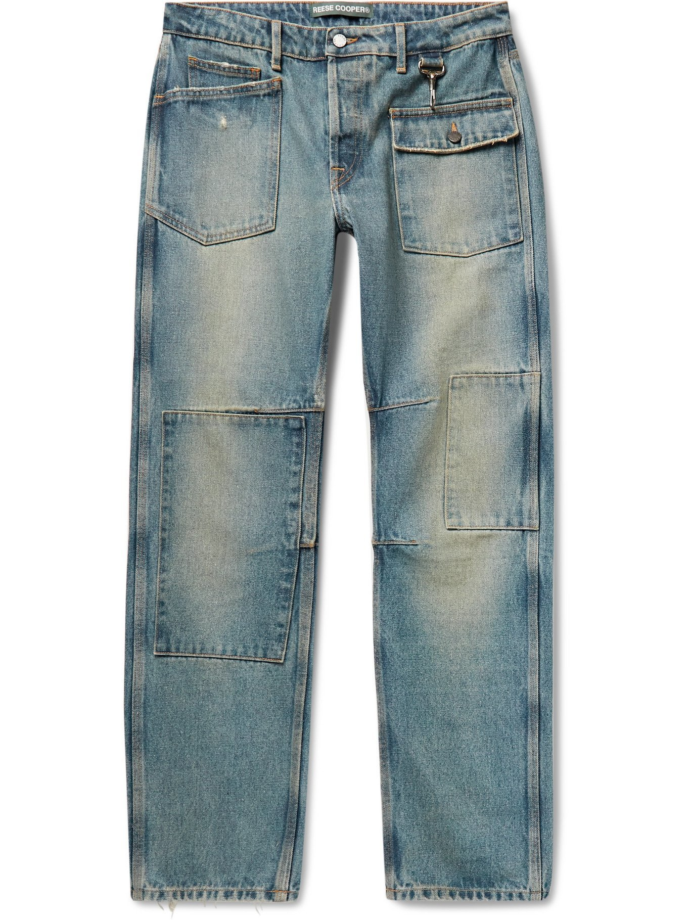 Photo: REESE COOPER® - Patchwork Distressed Denim Jeans - Blue - UK/US 30