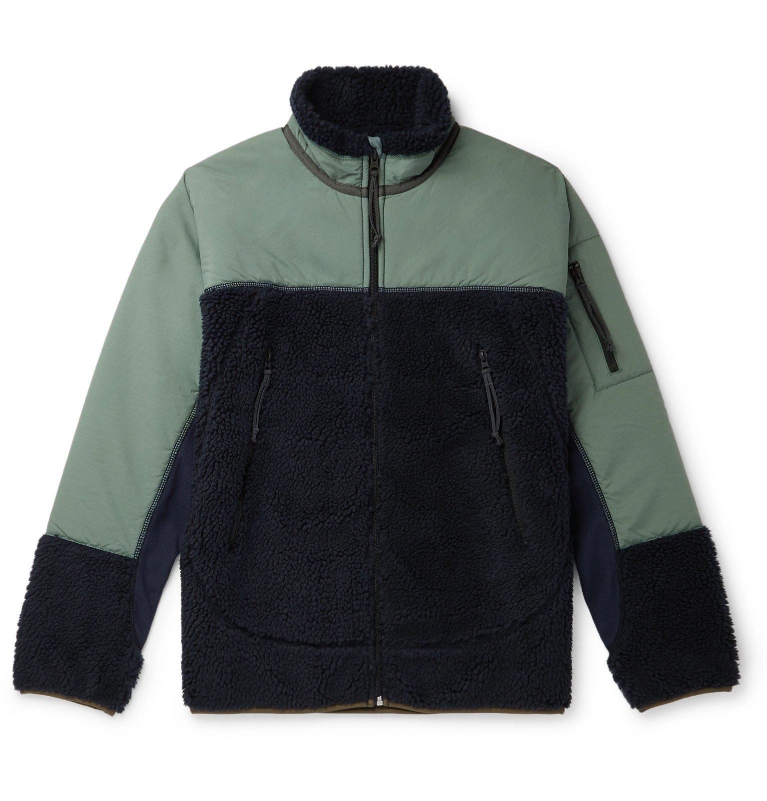 Photo: J.Crew - Panelled Fleece and Shell Jacket - Blue