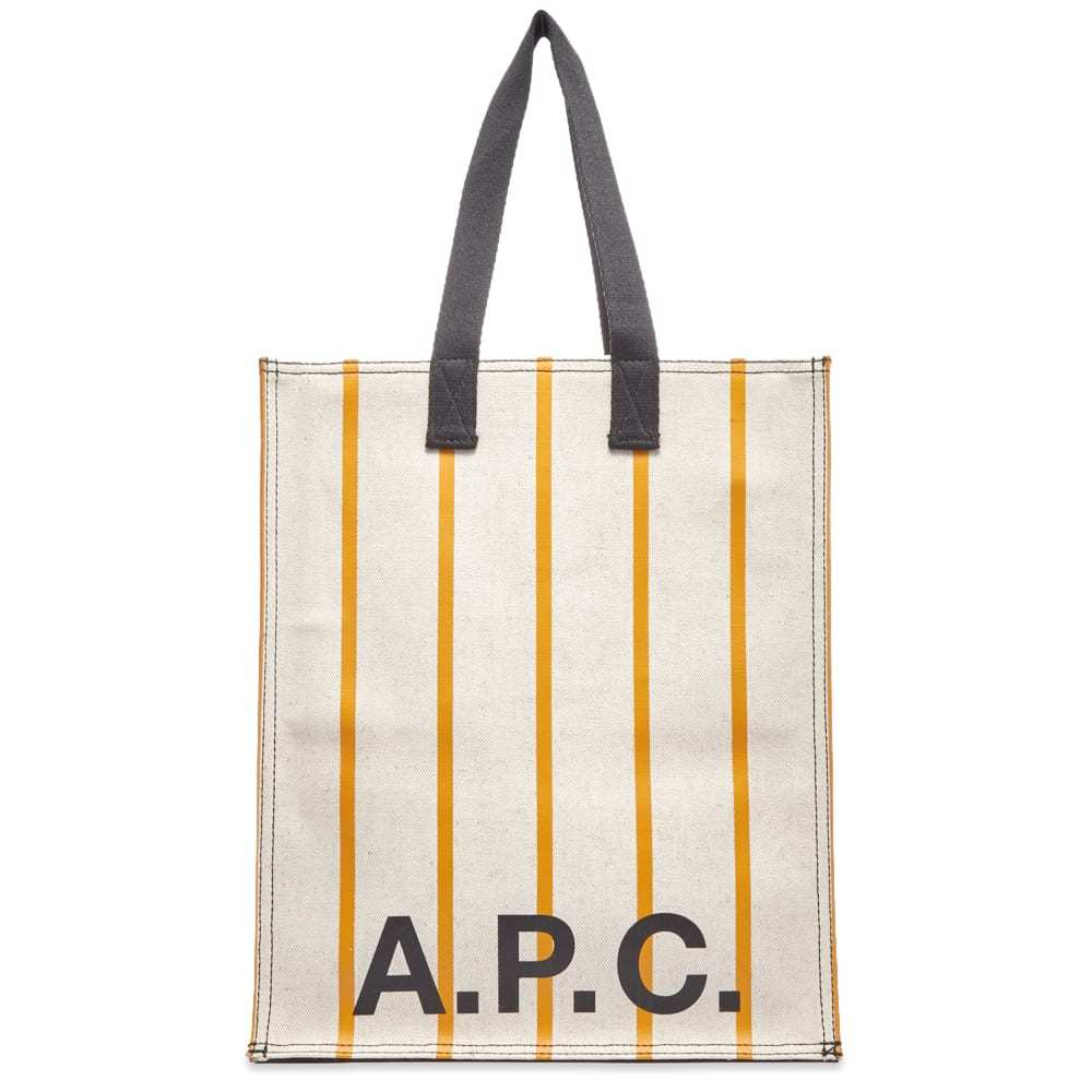 Photo: A.P.C. Pinstripe Logo Shopper Bag