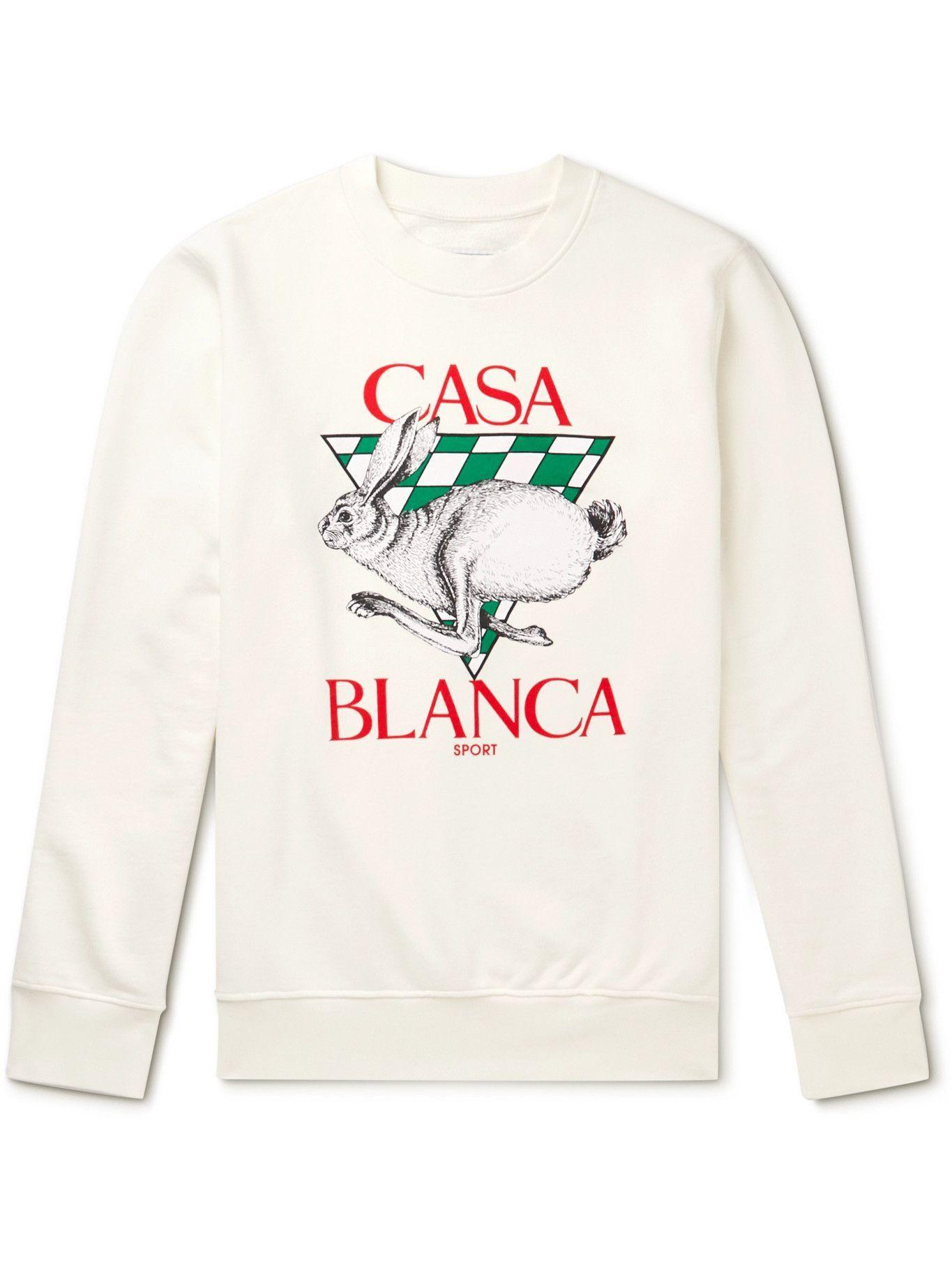 Photo: Casablanca - Logo-Print Cotton-Jersey Sweatshirt - White