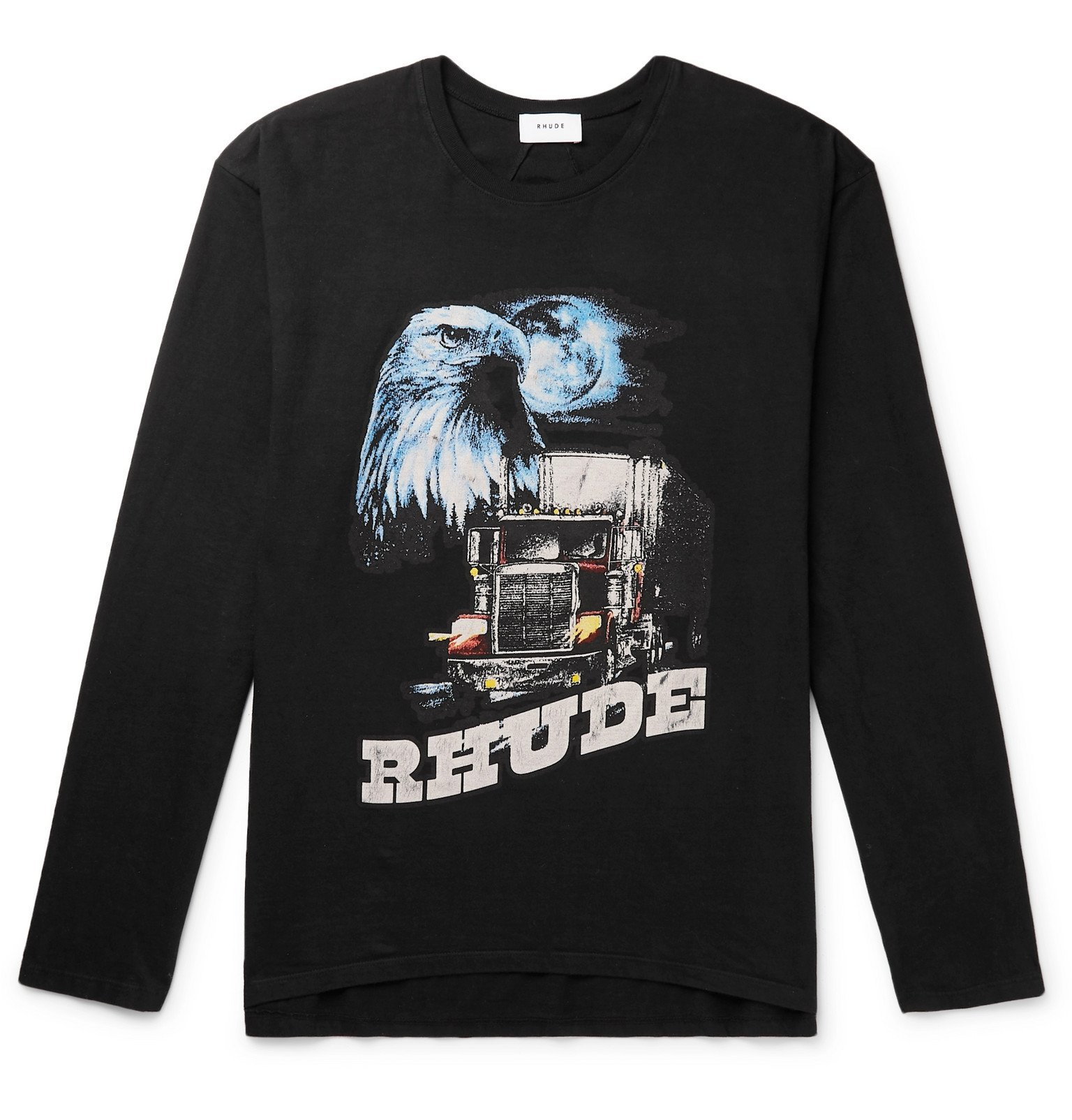 Photo: Rhude - Printed Cotton-Jersey T-Shirt - Black