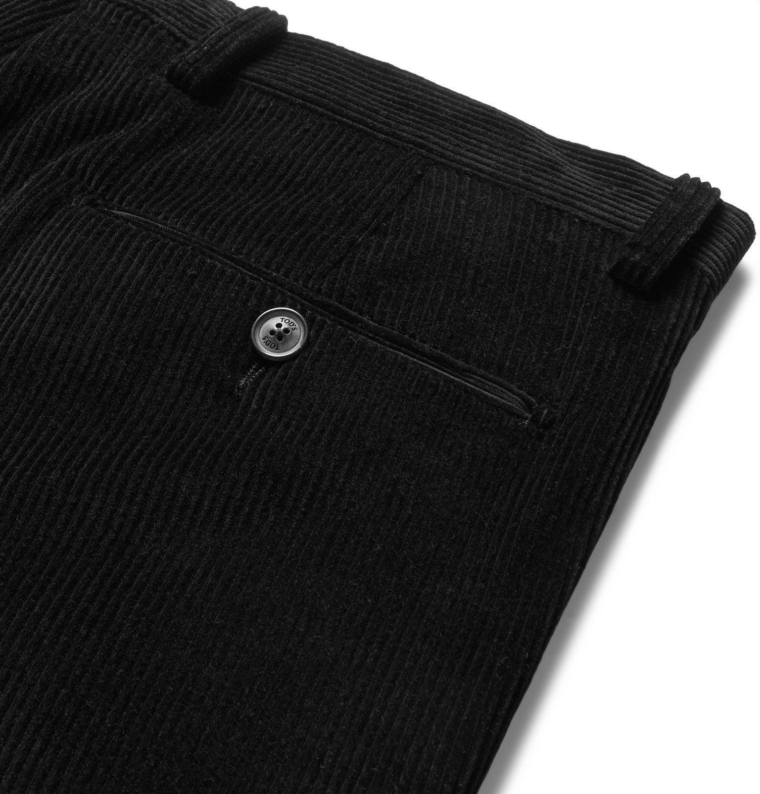 Tod's - Black Slim-Fit Cotton-Velvet Suit Trousers - Black