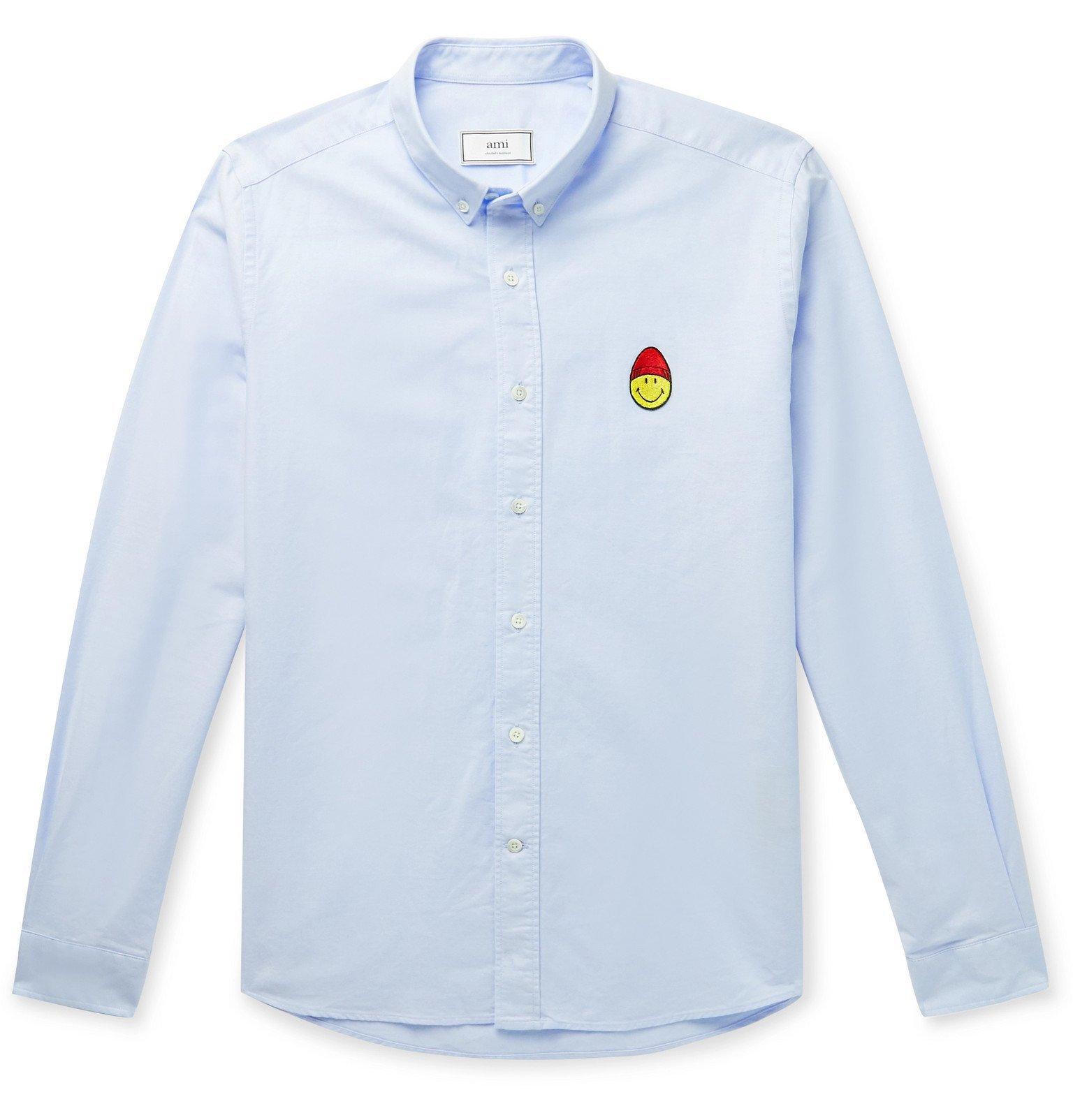 Photo: AMI - The Smiley Company Button-Down Collar Logo-Appliquéd Cotton Oxford Shirt - Blue