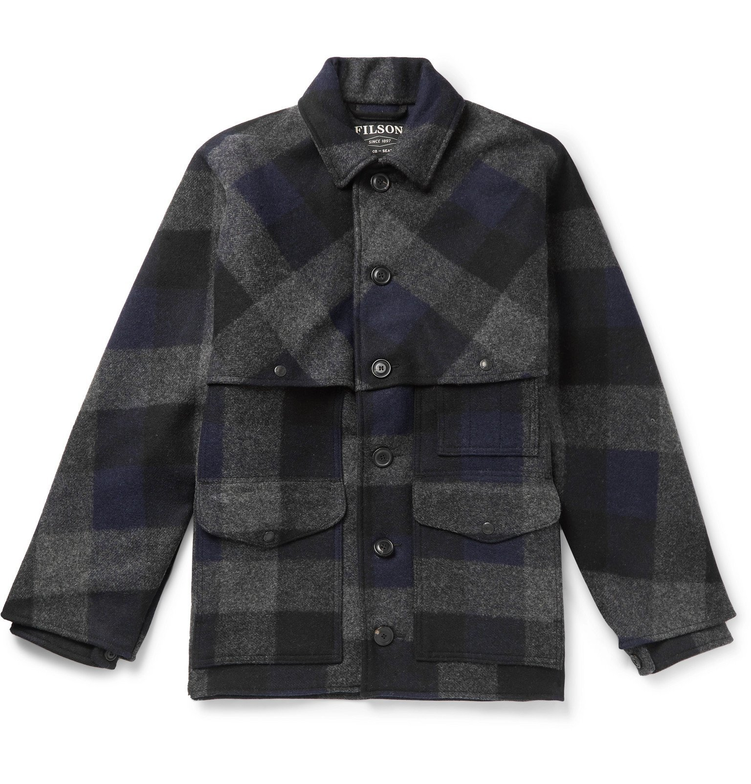 Filson - Oversized Checked Brushed Wool-Flannel Jacket - Blue
