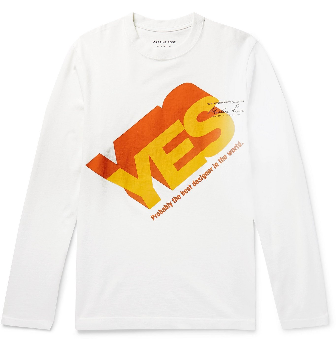 Photo: Martine Rose - Yes Logo-Print Cotton-Jersey T-Shirt - White