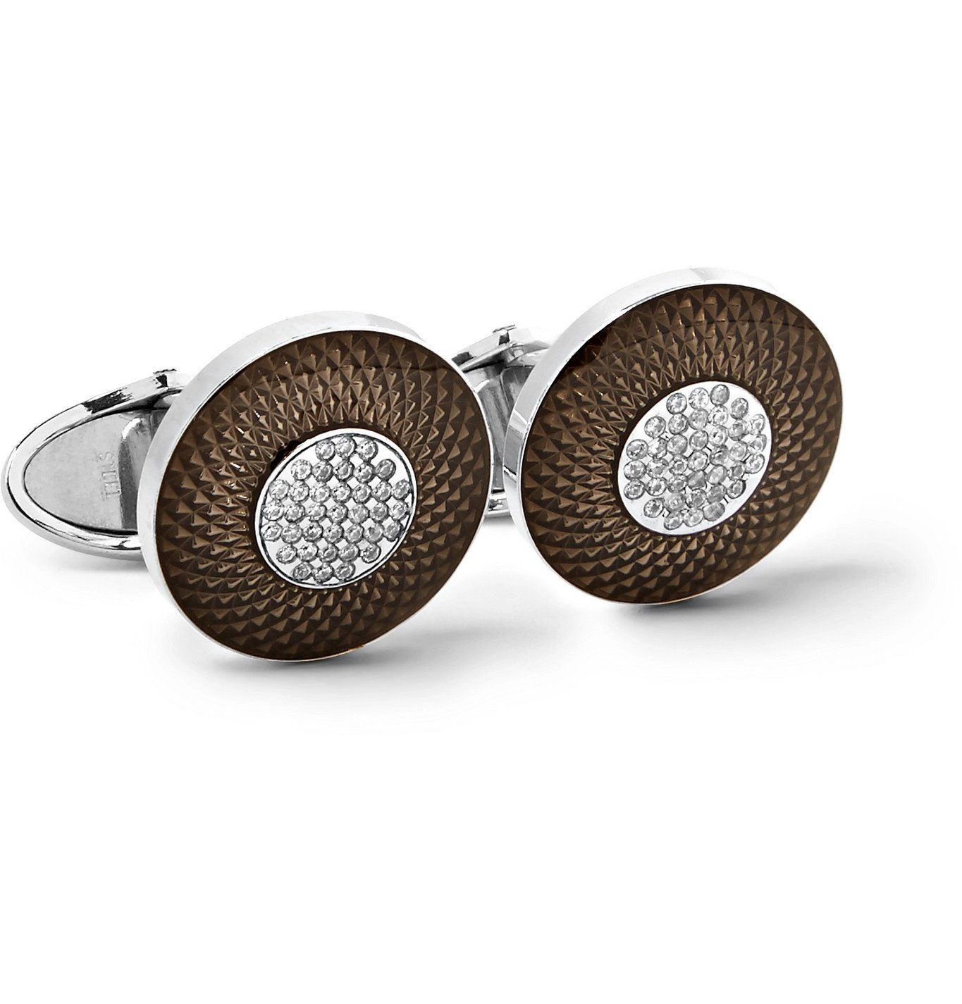 Dunhill - Sterling Silver, Enamel and Diamond Cufflinks - Silver