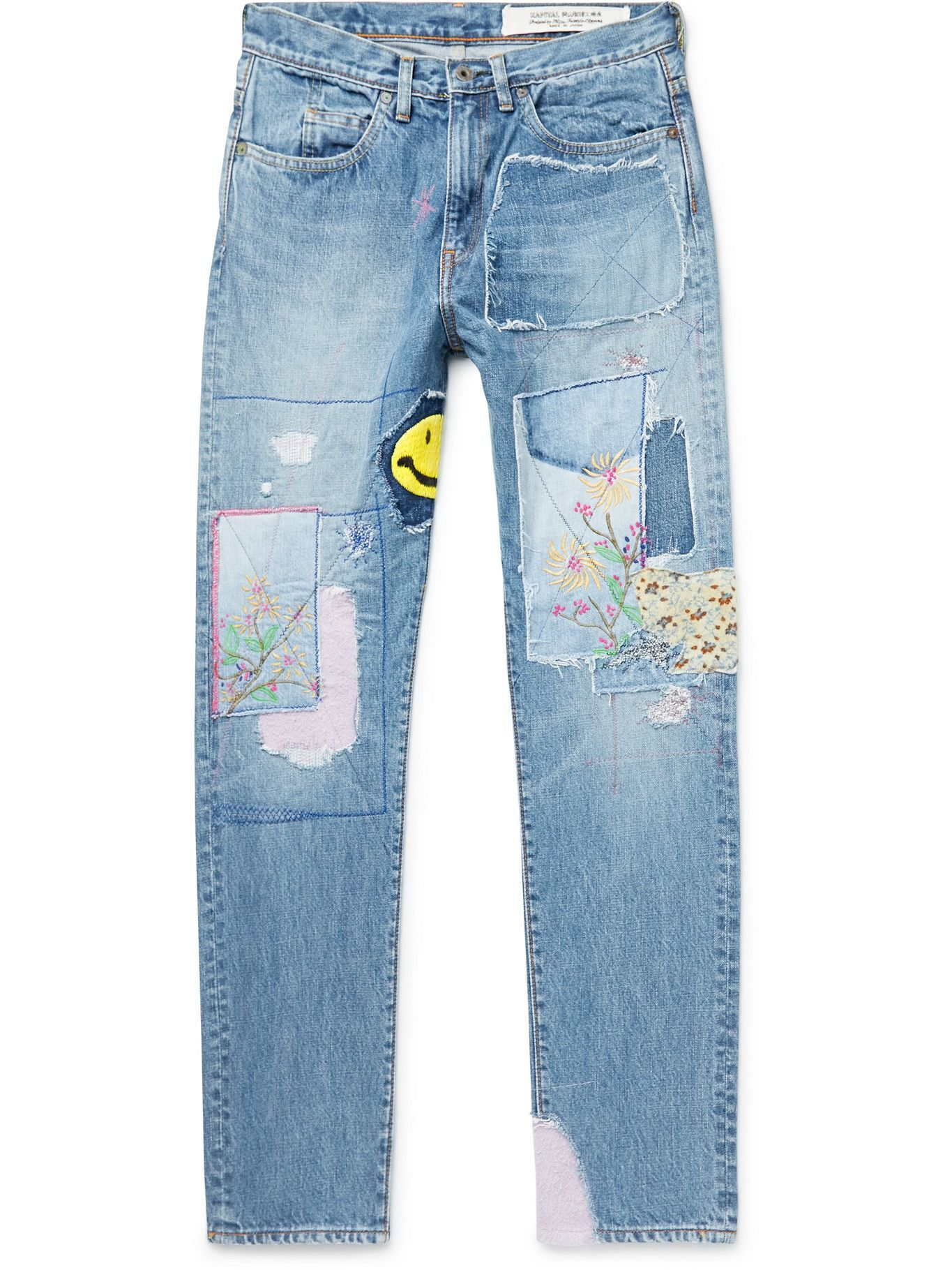 Photo: KAPITAL - OKABILLY Gypsy Patchwork Slim-Fit Embroidered Jeans - Blue