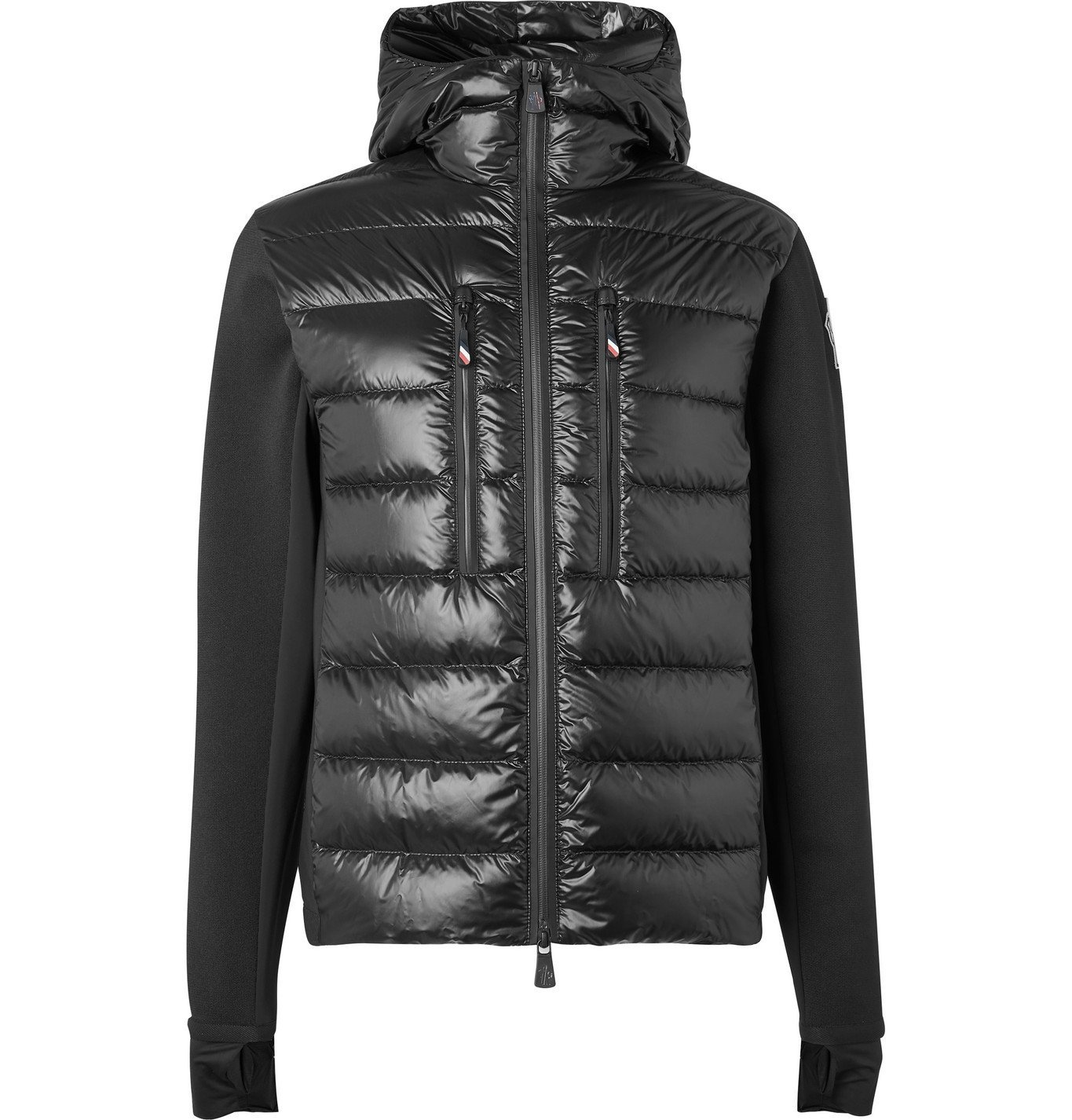 Photo: Moncler Grenoble - Panelled Neoprene, Stretch-Knit and Quilted Shell Down Jacket - Black