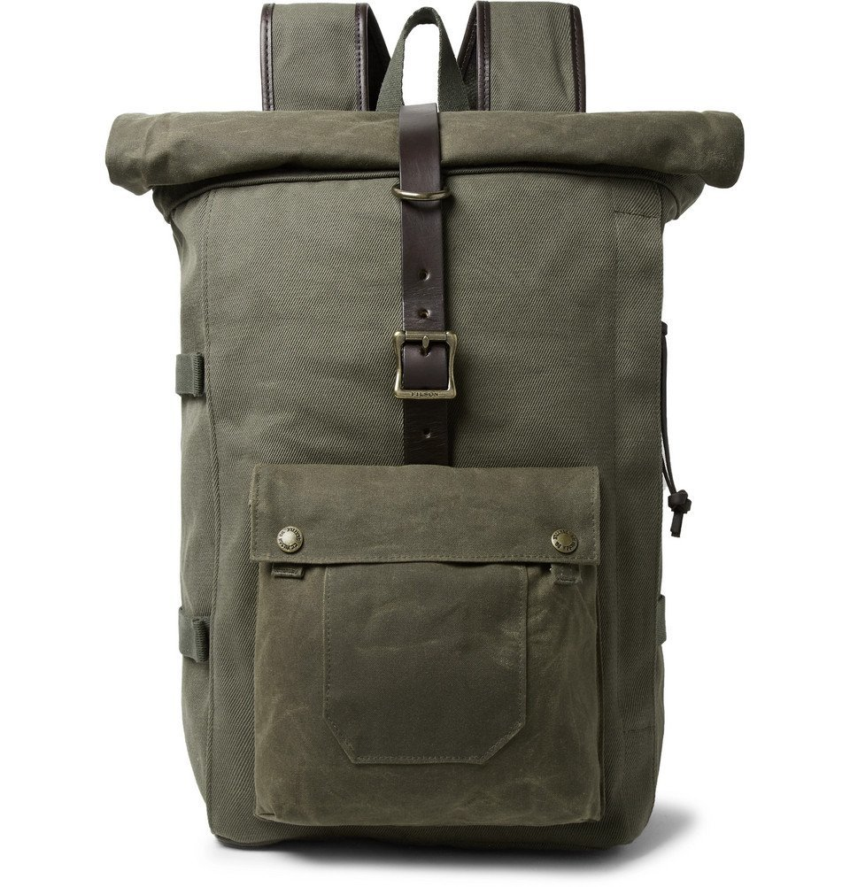 Filson - Roll-Top Tin Cloth and Leather-Trimmed Twill Backpack - Army green