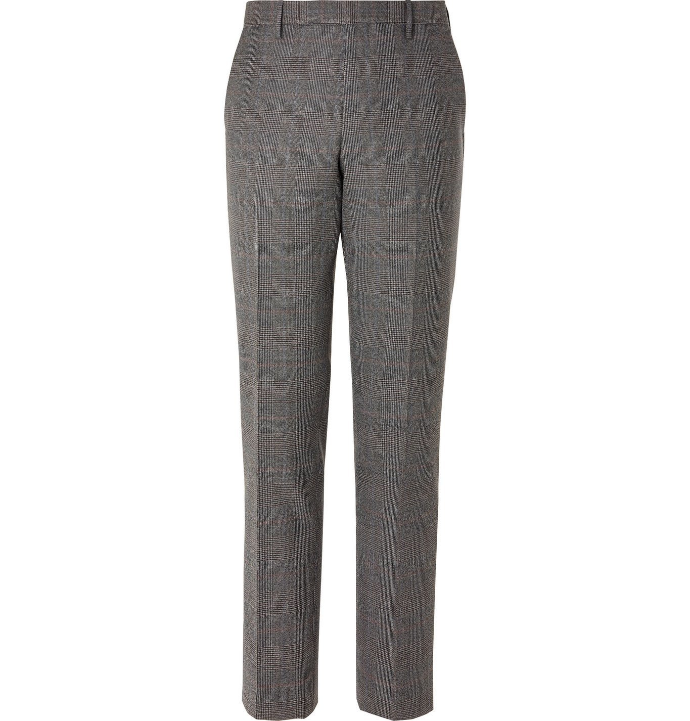 Photo: PAUL SMITH - Slim-Fit Prince of Wales Checked Wool Trousers - Gray