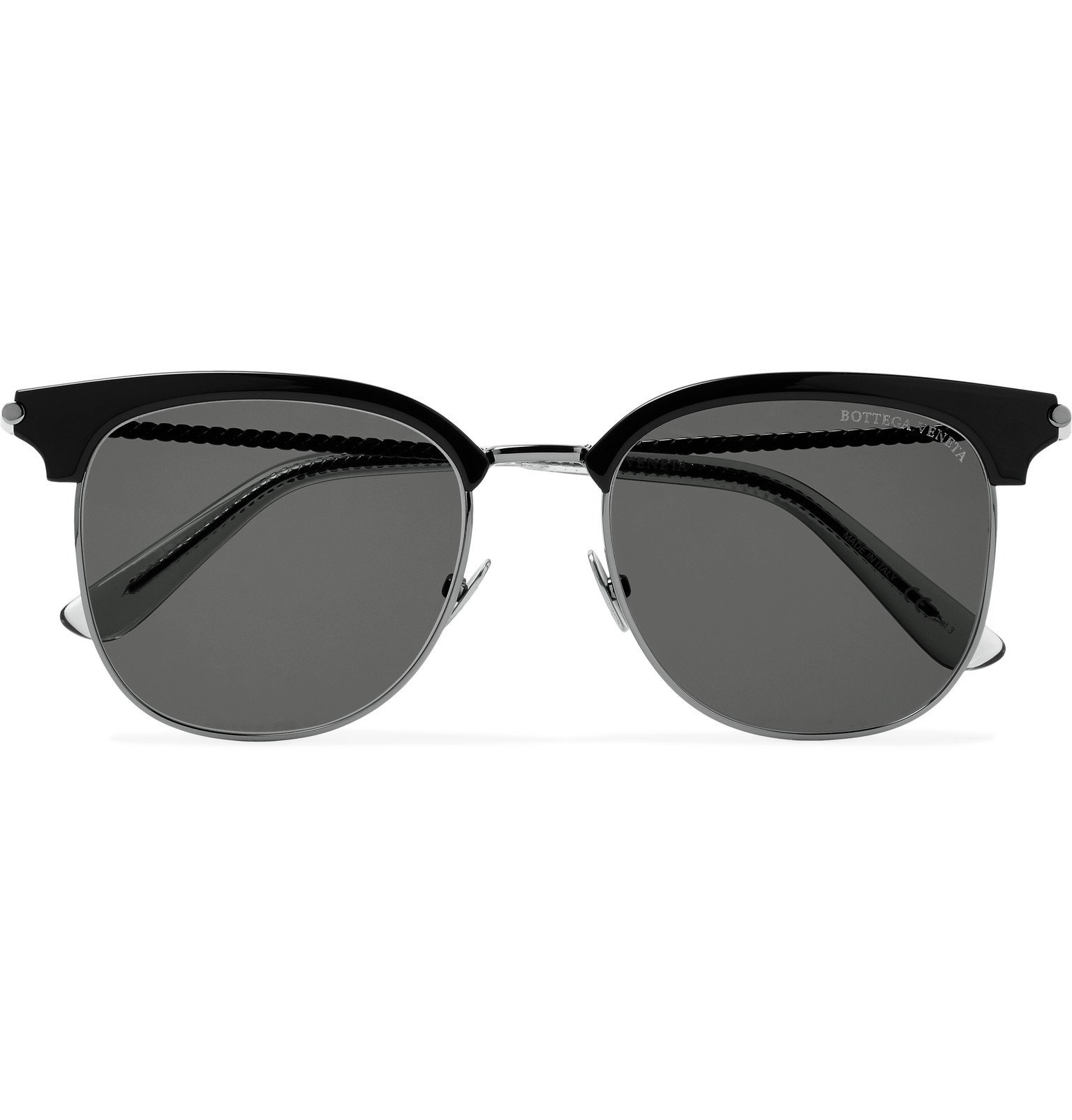 Photo: Bottega Veneta - D-Frame Acetate and Silver-Tone Sunglasses - Silver