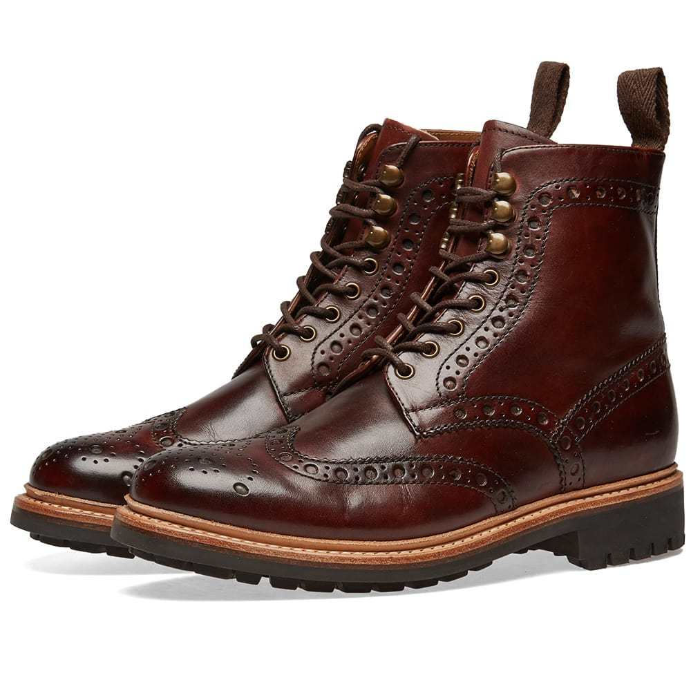 Photo: Grenson Fred C Brogue Boot Brown Hand Painted
