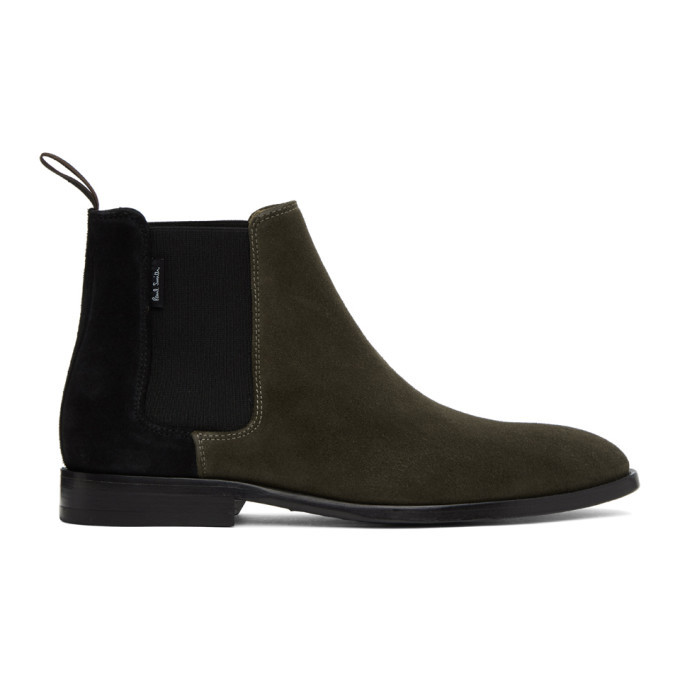 Photo: PS by Paul Smith Khaki and Black Gerald Chelsea Boots