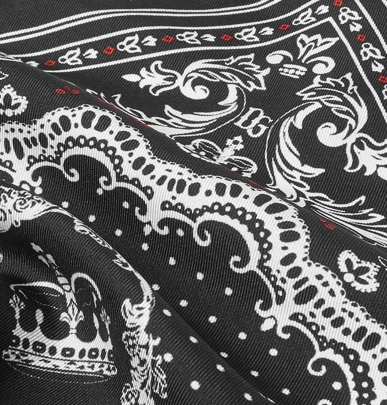 Dolce & Gabbana - Printed Silk-Twill Pocket Square - Black