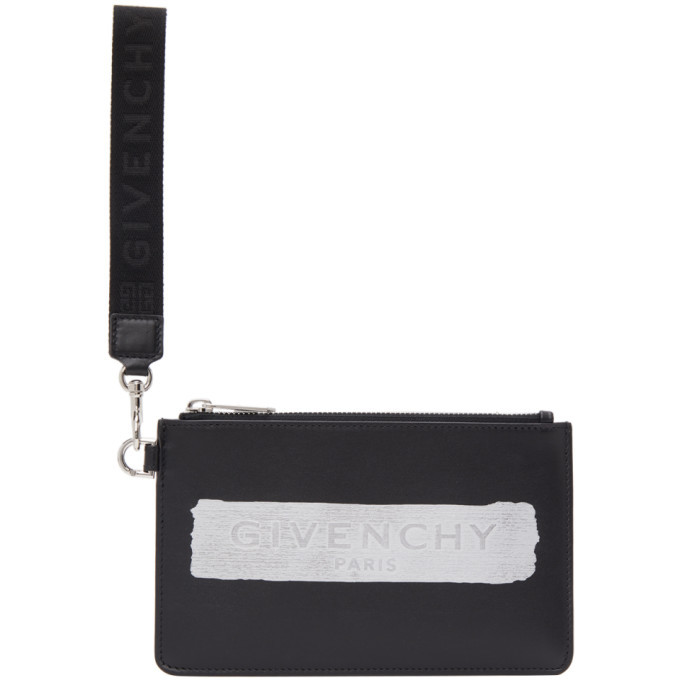 Photo: Givenchy Black and Silver Latex Logo Wrist Pouch