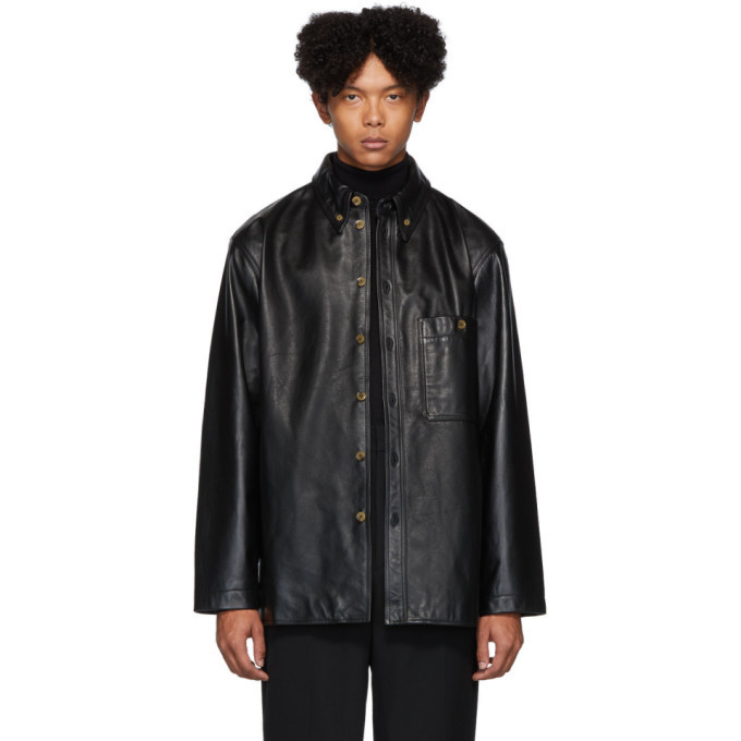 Photo: Lemaire Black Leather Shirt Jacket